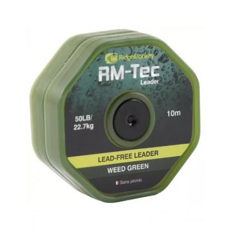 RidgeMonkey RM-TEC Lead Free Leader 50lb Weed Green 10mtr